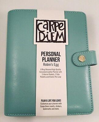 Carpe Diem Personal Planner Robins Egg 6 Ring Binder Agenda Calendar Organizer