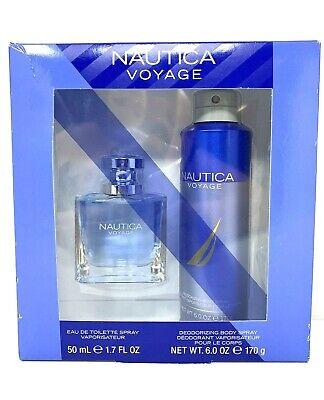 Nautica Voyage Men's Deodorizing 2-Piece Gift Set Body Spray New Ship Free