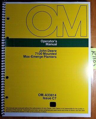 John Deere 7100 Mounted Max-emerge Planter 4 6 8 Row 1975-1987 Operator Manual
