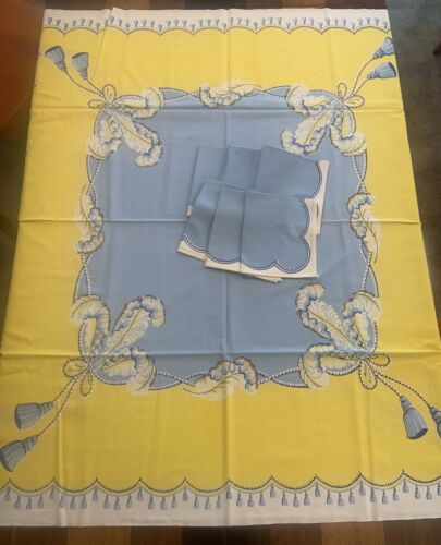 Vintage Print Luncheon Tablecloth 6 Napkins French Feathers Braided Rope Tassels