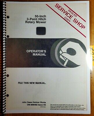 John Deere 50 Inch 3 Point Hitch Rotary Mower Owner Operator Manual Om-m86482