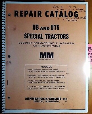 Minneapolis-moline Ub Uts Special Tractor Repair Parts Catalog Manual R-1152a