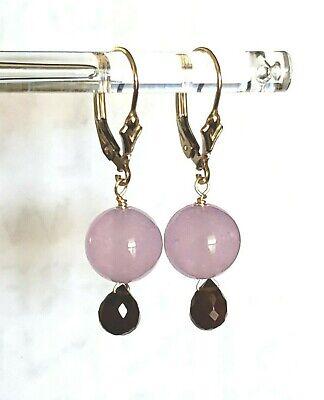14k Yellow Gold Filled Garnet Briolette Purple Jade Leverback Dangle Earrings
