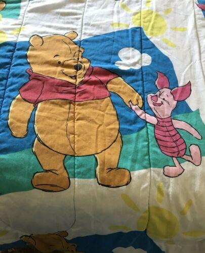Vintage 1990s Disney WINNIE THE POOH & PIGLET Twin Comforter Quilt Clouds *READ