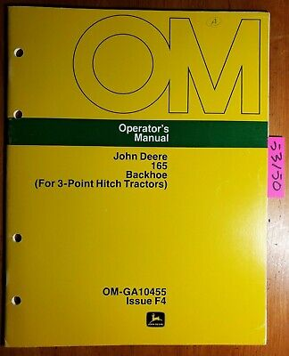 John Deere 165 Backhoe For 3 Point Hitch Tractors Owner Operators Manual 674