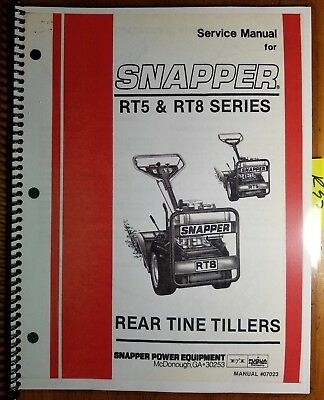 Snapper Rt5 Rt8 Series Rear Tine Tiller Service Manual 07023 785