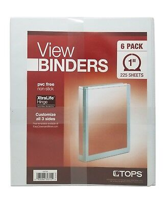 """Tops View Binders 1"""" 225 Sheets Pvc Free Non-Stick 6 Pack"""