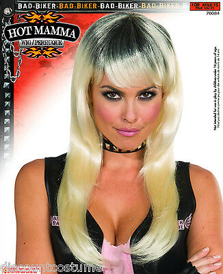 FORUM BLONDE & BLACK HOT BIKER MAMMA WIG ADULT HALLOWEEN COSTUME ACCESSORY 70084