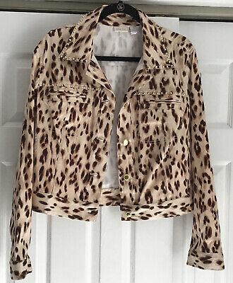 Chicos Cropped Leopard Print Gold Studded Denim Style Jacket Size 3 Xl Euc