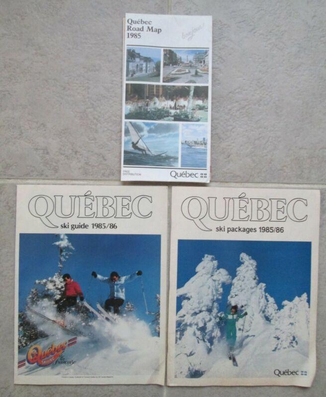 Vintage 1985 Quebec Road Map + Ski Guide & Ski Packages Travel Brochure Booklets