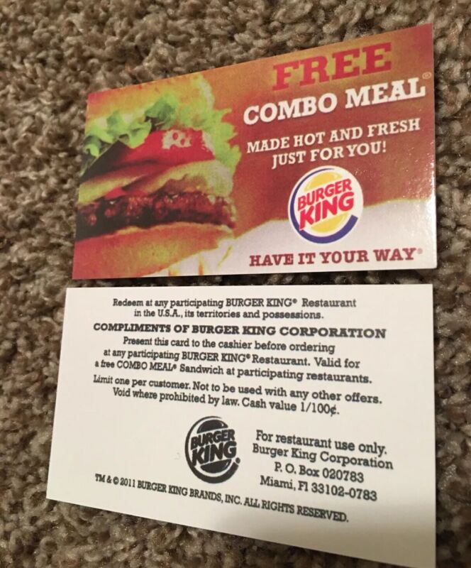 Burger King Combo Meal vouchers for One Combo Meal Lot Of 15 Cards