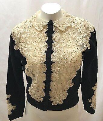Vintage 1950's Ivory Beaded Black Cardigan Evelyn Lesser Miami Size Med or Lg
