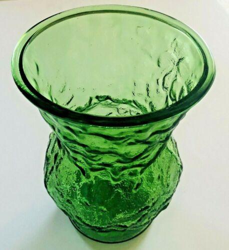 E.O. Brody Co Crinkle Glass Green Vase / Planter Large Cleveland USA #6109 VTG