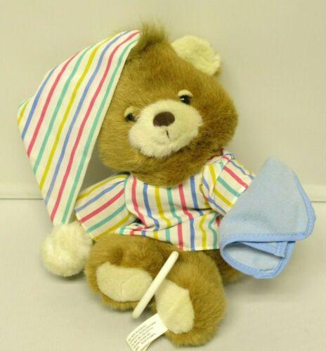 Vtg TEDDY BEDDY Bear Musical Baby Crib Pull Toy Night Cap Prestige GO TO SLEEP