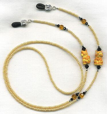Orange~Ginger CATS & CRYSTALS Eyeglass~Glasses Necklace Holder Leash Chain