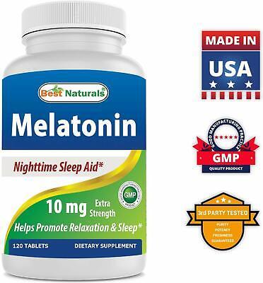 Best Naturals Melatonin 10mg 120 Tablets - Drug-Free Nighttime Sleep Aid