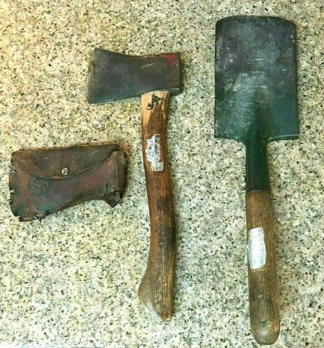 Vintage Boy Scouts of America Hatchet Camping Axe Wood Tool w/ Sheath & Shovel