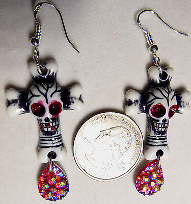 Bloody SUGER SKULL SCARY EARRING HALLOWEEN Bling 925 hooks Noras USA Handcrafted](Suger Skull)