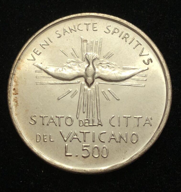 Vatican City 500 Lire Veni Sancte Spiritvs Sede Vacante Silver Coin