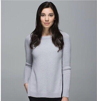 Lululemon Sweater 12 Lovely Pale  Grey Yin to You Side Slits Wool Thumbholes NEW