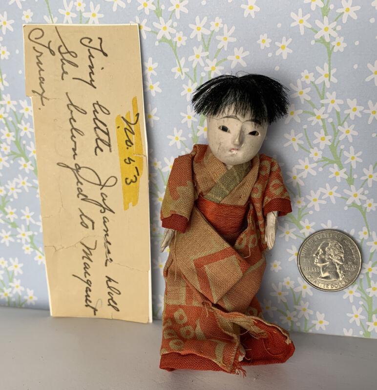 "Vintage Antique Ichimatsu Boy Doll Orange Clothing 4.5"" Dollhouse Miniature 1:12"