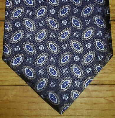 The Men's Store Tie Charcoal Brown White Blue Oval Paisley NIB t1760
