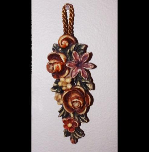 "Vintage German carved painted wax floral spray on rope 7.75""x3"" wall art"