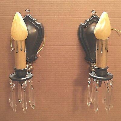Brass Sconces Vintage Antique Wired Pair Electric Candles 6A
