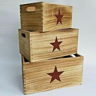 Cajas Almacenaje madera estrella decoracion vintage 3 unidades - Orden en casa