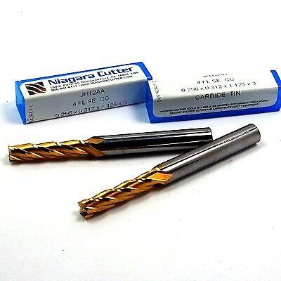 Niagara Carbide End Mills 0.256 4fl Tin 0.256 X 1-18 X 3 2 Pcs
