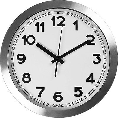 Large Decorative Silver Wall Clock - Silent Non-ticking 12-Inch(Aluminium)