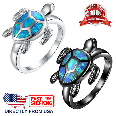 Women's Blue Green Fire Opal Inlay Sea Turtle Ring Blue Opal Inlay Ring