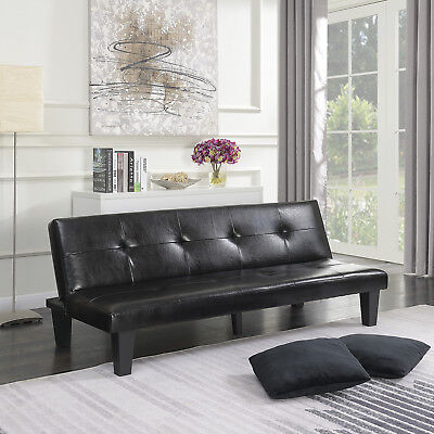 (Black Leather Faux Fold Down Futon Lounge Convertible Sofa Bed Couch w/ 2-Pillow)