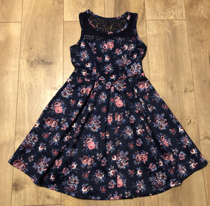 CUTE! 2 - Hip By: Wrapper Navy Blue Laced Pink Roses *Thigh Length* Dress