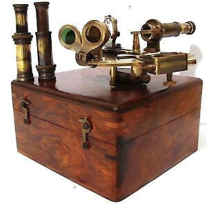 German Brass Sextant w Box & Two Lenses -working sexant