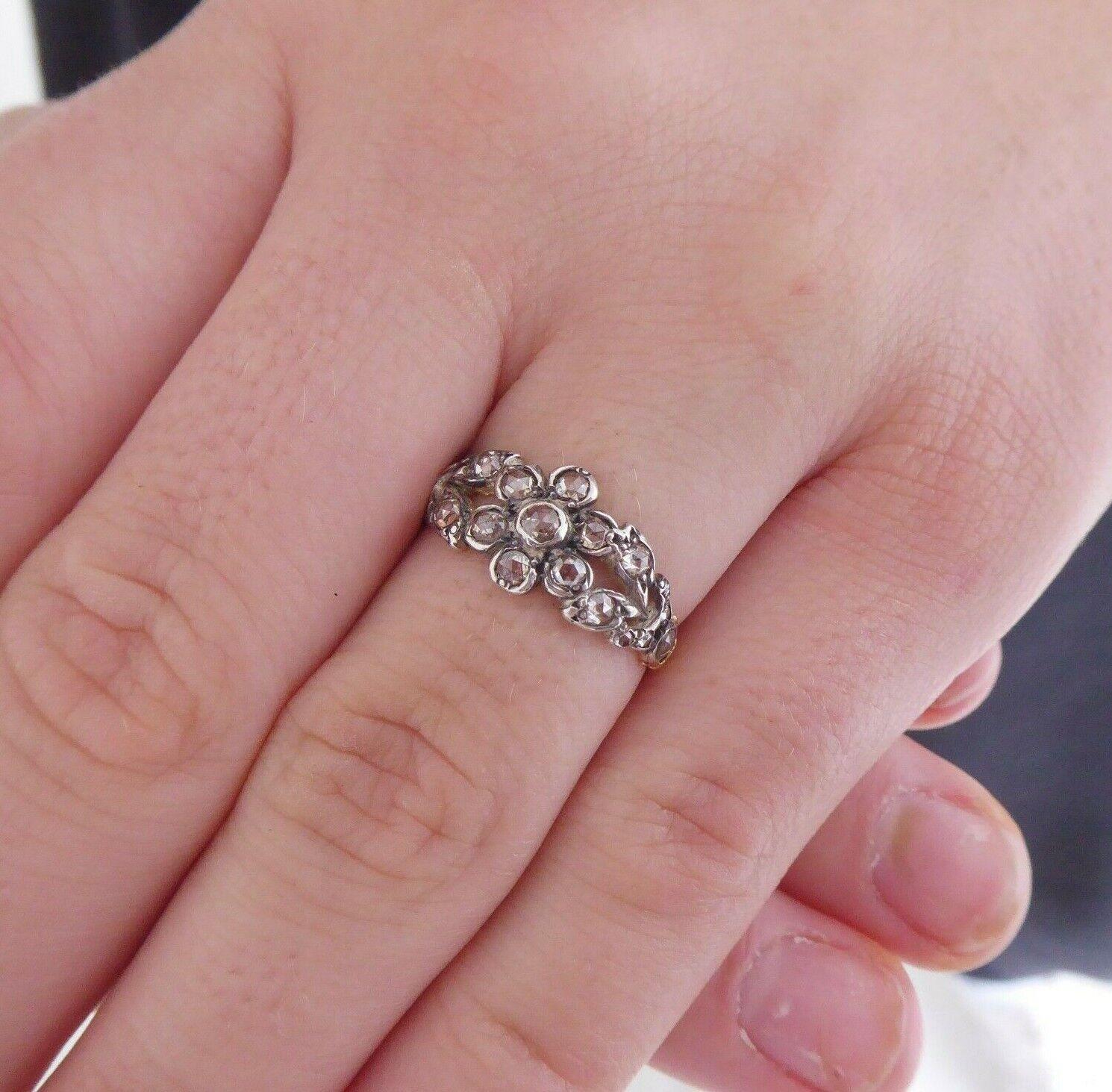 18ct gold rose cut diamond ring, Georgian