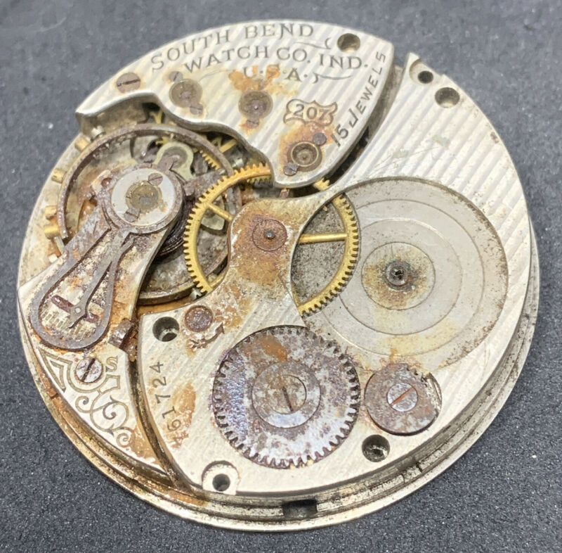 South Bend Grade 207 Pocket Watch Movement 16s 15j Openface Parts Only F2613