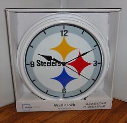 PITTSBURGH STEELERS WALL CLOCK # 2. 9 DIA. AMERICAN FOOTBALL.....FREE SHIPPING