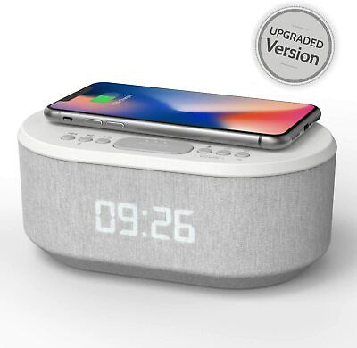 Bedside Radio Alarm Clock with USB Charger Bluetooth Speaker QI Wireless Chargin