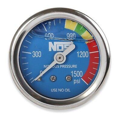 NOS 15918NOS Nitrous Pressure Gauge 1/8 Liquid Filled blue