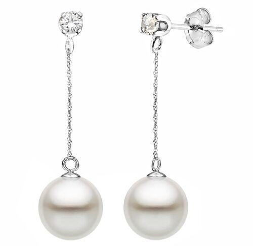 Pearl 14K White Gold Dangle Earrings 8-9mm White Freshwater