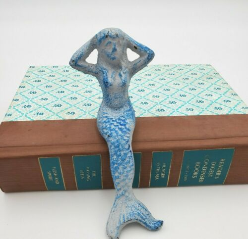Cast Iron Blue Mermaid Figurine Decor Shelf Sitter Nautical Bath Garden Office
