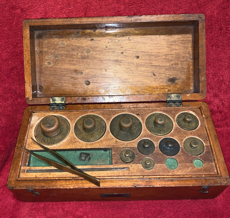 Antique Apothecary Brass Metric Weight Set with Brass Tweezers In Wood Case