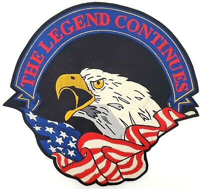"""VTG NEW INDIAN MOTOCYCLE EAGLE USA Flag Legend Continues Scroll Patch 2XL 13"""""""