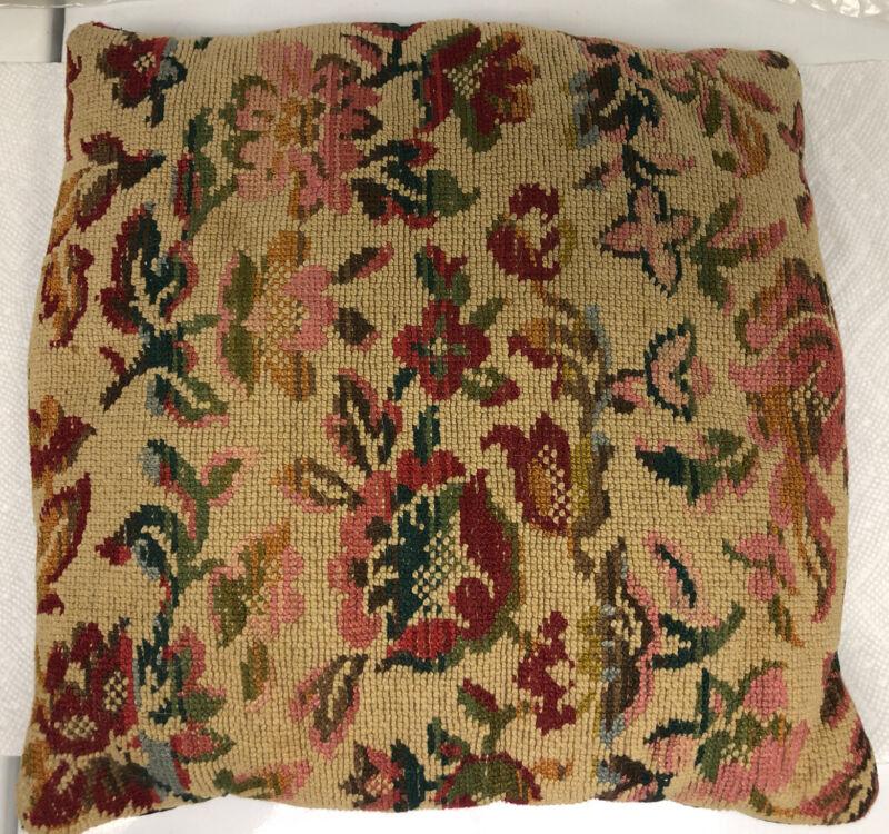 Antique Needlepoint Throw Pillow
