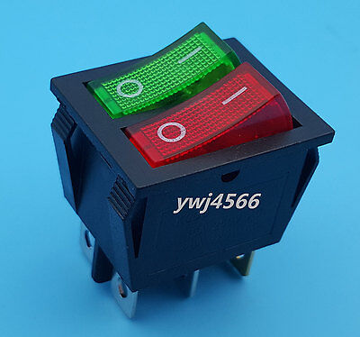 Red Green Light 6pin Double Spst Onoff Rocker Boat Switch Ac 250v15a 125v20a