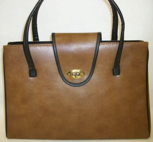 Vintage Dover USA 2-Tone Brown & Black Handbag Purse with Feet