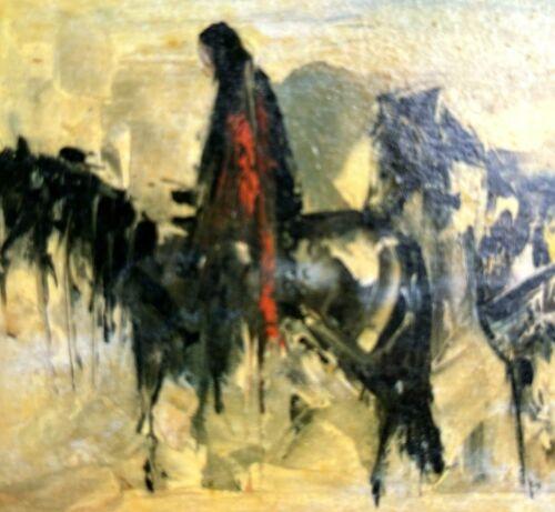 Ted De Grazia Horseback Art Print Rider Wall Plaque Hanging Small Black Pinto