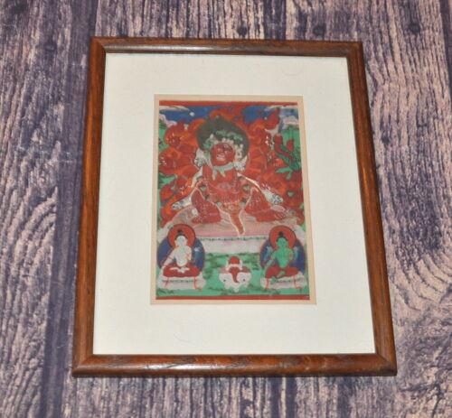 Framed Mongolian Tibetan Antique Thanka Thangka Painting Buddha Hayagriva