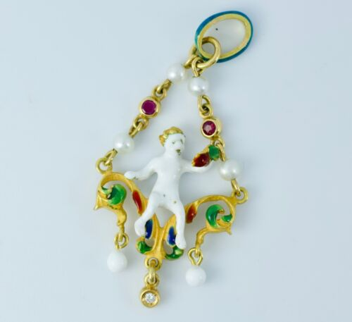 Antique 18k Yellow Gold Enamel Boy On A Swing Pearl, Ruby And Diamond Pendant